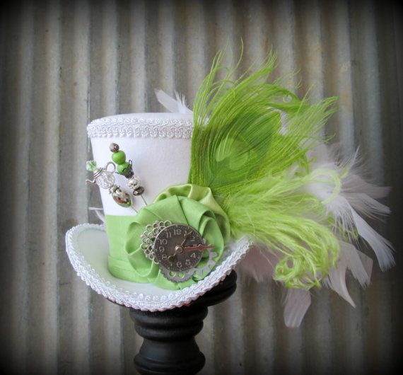 The White Rabbit in Lime Green Mini Top Hat, Alice in Wonderland Mini Top Hat, Tea Party Hat, Steampunk Hat, Gear Hat, Mad Hatter Hat
