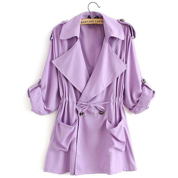 Womens Plain Turndown Collar Drawstring Waist Trench Coat Purple (385 ARS) ❤ liked on Polyvore featuring outerwear, coats, purple, purple trench coat, trench coat, purple trenchcoat, collar coat and purple coat