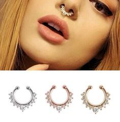 18 style Titanium nose Rings Crystal Fake Nose Ring Septum Piercing Hanger Clip On Body Jewelry Nose Hoop rings nose earrings //Price: $4.99 & FREE Shipping //     #hashtag3