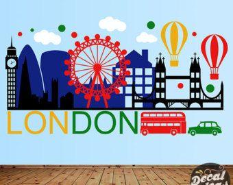 London Wall Decal - London City Wall Sticker - London Wall Art - City Skyline - London City Wall Decal - London Skyline Wall DecalETS50089