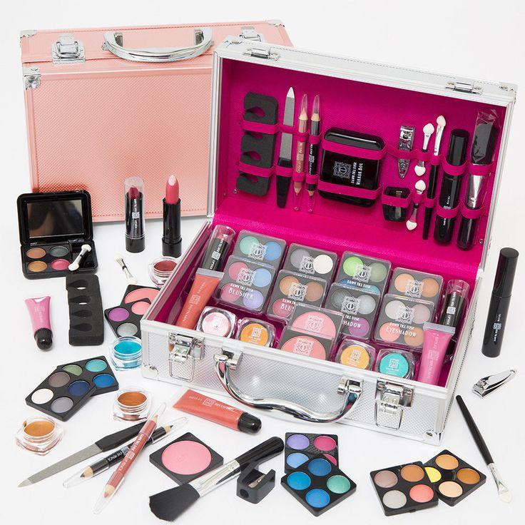 54pcs Make Up Set & Vanity Case Beauty Rose Gold Cosmetics Storage Box Nails Kit