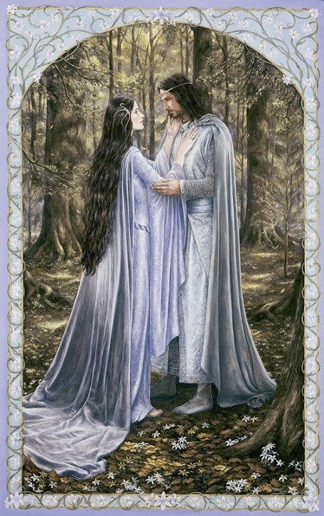 Arwen et Aragorn - Le Seigneur des Anneaux - Illustration de Matthew Stewart
