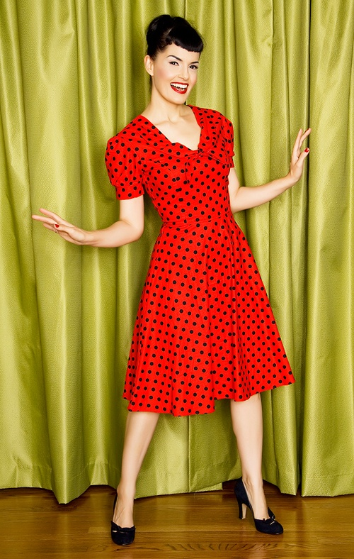 Bernie Dexter Sailor's Sweetheart Cotton Polka Dot Swing ...