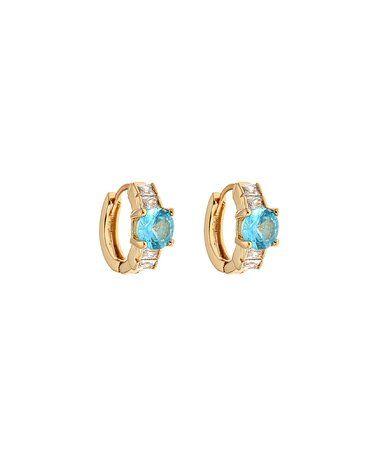 Look at this #zulilyfind! Aqua Crystal & Gold Huggie Earrings #zulilyfinds