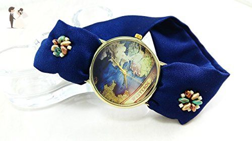 Custom world map watch bracelet Personalizable silk wristband made to order gift - Wedding bracelets (*Amazon Partner-Link)