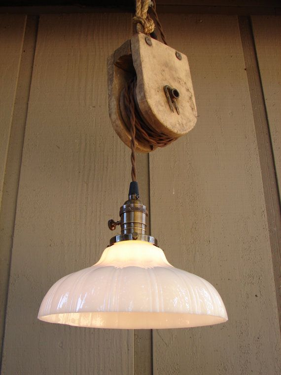 Upcyled Vintage Farm Pulley Hanging Pendant by BenclifDesigns