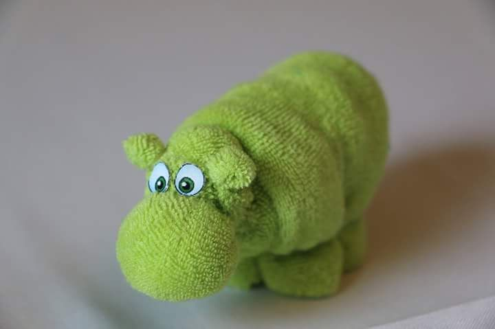 Hippo made from baby washcloths