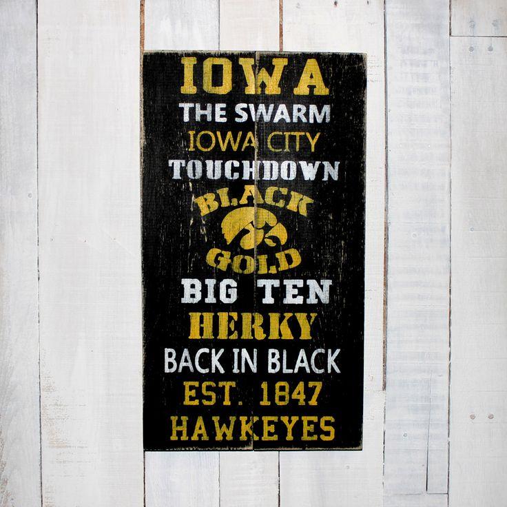 Iowa Hawkeye Football  - Hand Painted Rustic Wood Sign by EverydayCreationsJen on Etsy https://www.etsy.com/listing/220983194/iowa-hawkeye-football-hand-painted