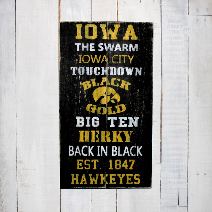 Iowa Hawkeye Football  - Hand Painted Rustic Wood Sign by EverydayCreationsJen on Etsy https://www.etsy.com/listing/220983194/iowa-hawkeye-football-hand-painted