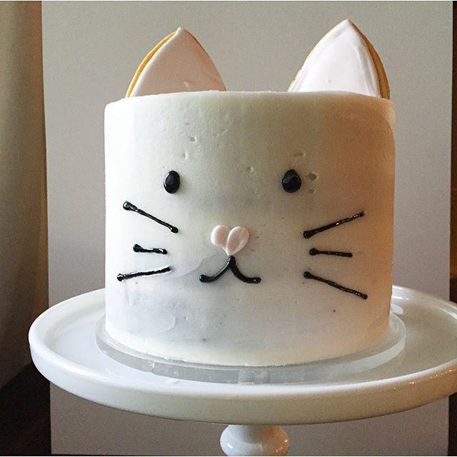 A little kitty cake for my little kitty loving 2 year old.  #kittycake #cake