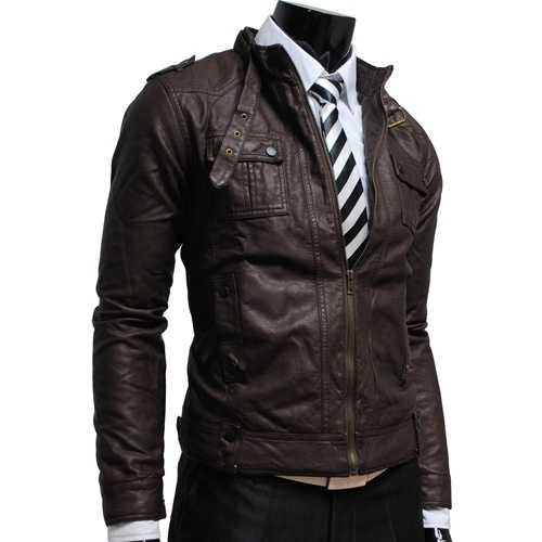 Mens slim leather jacket - $72