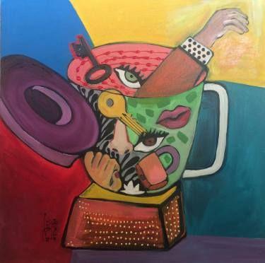 "Saatchi Art Artist Rasha Amin; Painting, ""In the blender-4"" #art"