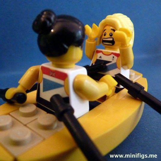 Katherine Copeland about to hug Sophie Hosking after winning gold in the lightweight women's double scull lego