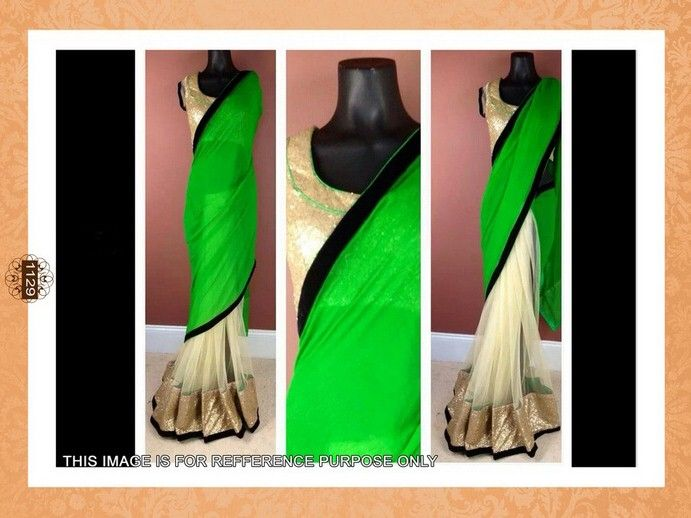 Buy GREEN AND CREM GEORGETTE AND NET DESIGNER SAREE WITH BLOUSE Online
