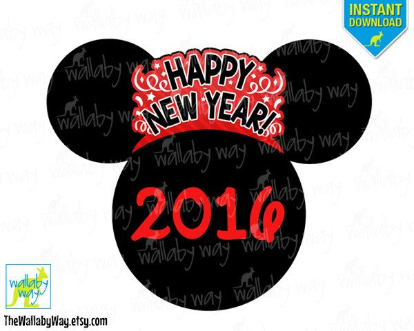 Disney New Years Eve 2016 Printable Iron On Transfer or Use as Clip Art - DIY Disney Shirt, Happy New Year, Minnie, Mickey Head, Download by TheWallabyWay on Etsy