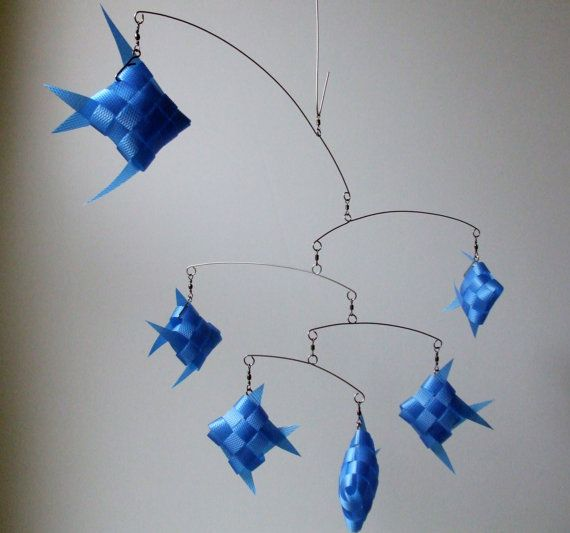 Blue Fish Ceiling Mobile made of strapping tape  by MultiColori