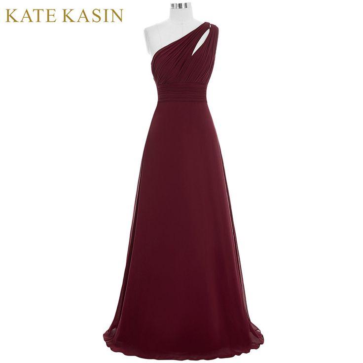 Kate Kasin Long Prom Dresses Abendkleider 2017 Gala Jurken Evening Dress One Shoulder Blue Pink Green Burgundy Prom Dresses