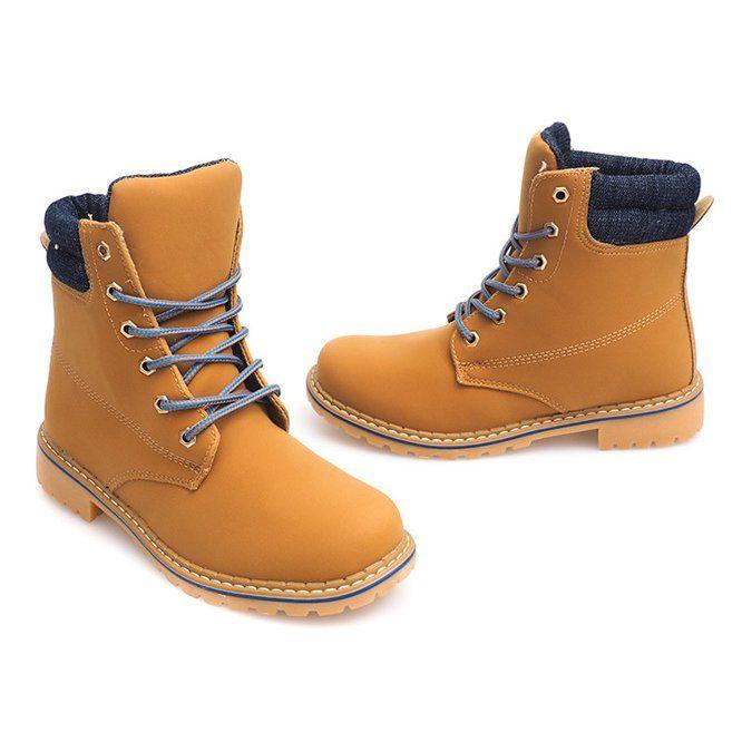 Jesienne Timberki Trapery 1 16 Yell Blu Brazowe Lace Up Shoes Women Shoes Trekking Shoes
