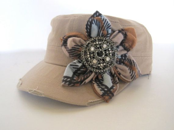 Khaki Cadet Military Distressed  Army Hat with by theraggedyrose, $35.00