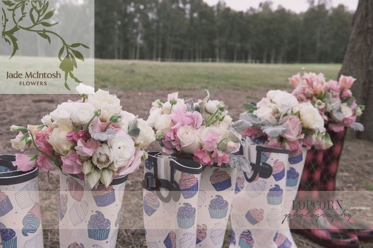 Lovely rounded posies of white roses and rananculas, pink sweet pea, soft pink roses and blushing brides. Gumboots optional (but gorgeous!) www.jademcintoshflowers.com.au www.popcornphotography.com.au