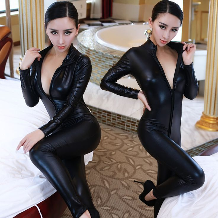 Lady Sexy Leather Latex Zentai Catsuit Smooth Wetlook Jumpsuit Front Zipper Elastic Valentine's Day Party Clubwear