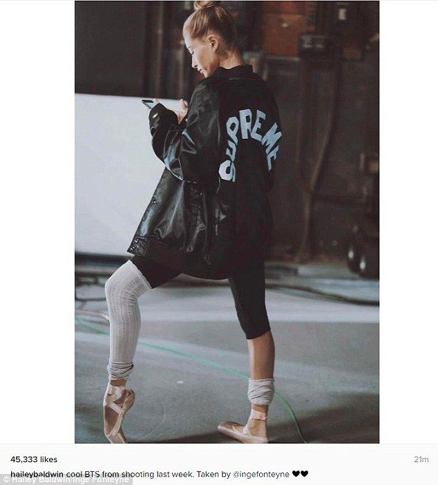 Get Supreme style in Hailey's bomber jacket #DailyMail  Click 'Visit' to buy now