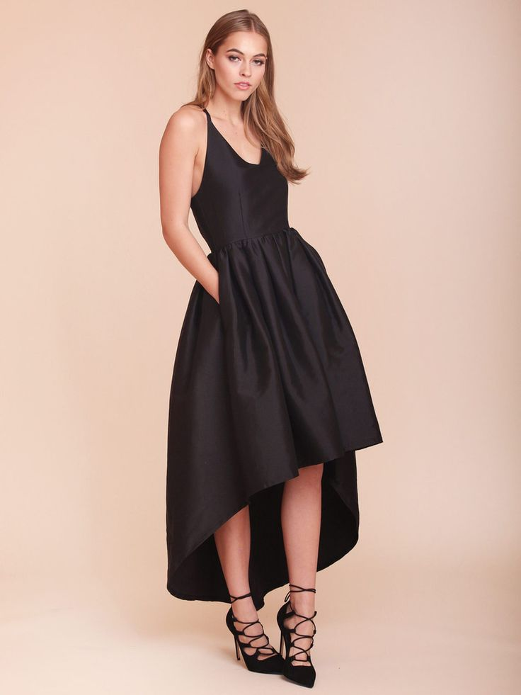 Low Back Wedding Guest Dresses : Dress hi low high black bridesmaid open back