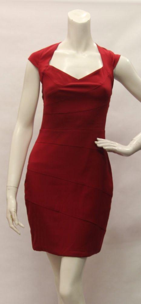 MARIA BIANCA NERO Red Short Sleeve Fitted Silk Blend Dress Size M 370141 USA #MariaBiancaNero #WeartoWork