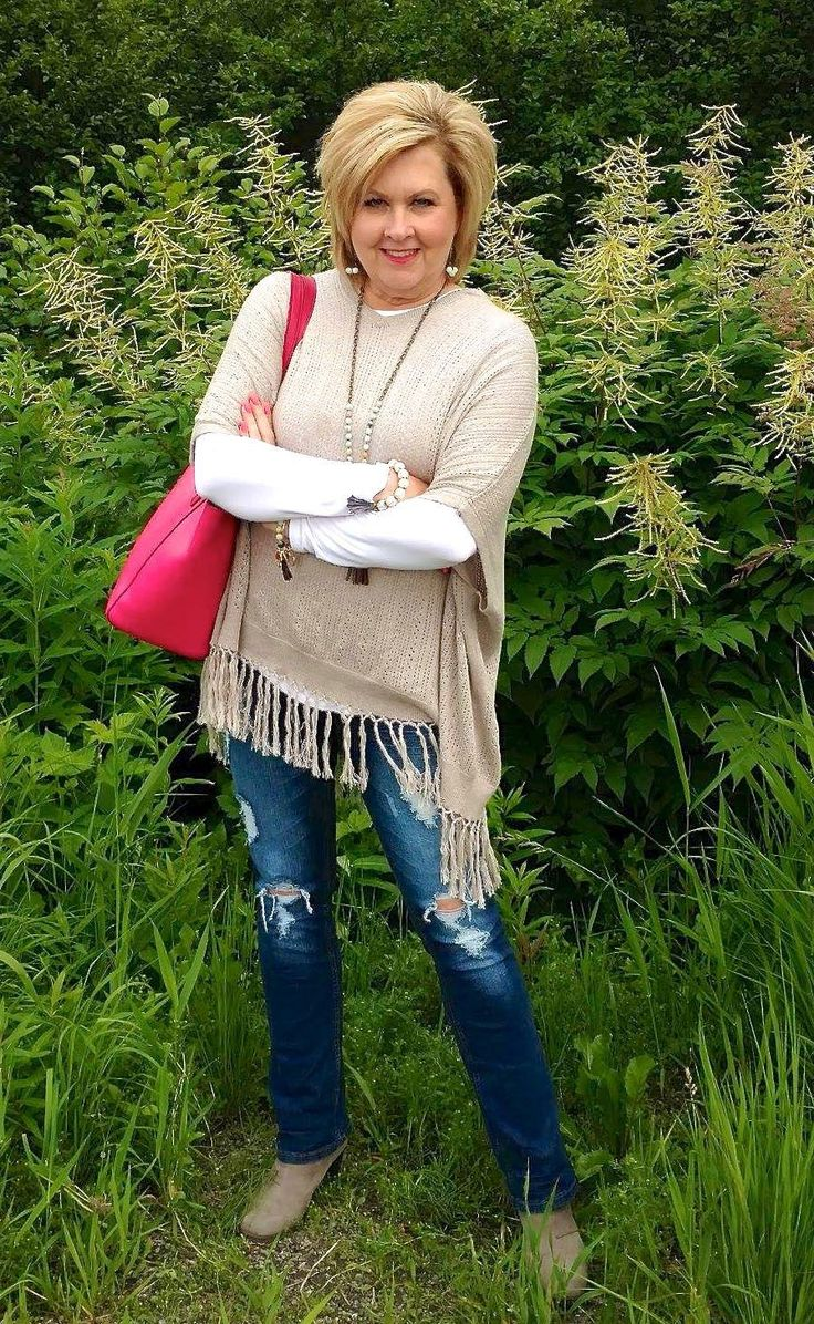 50 IS NOT OLD | A SUMMER PONCHO LOOK | Casual | Fringe | Distressed jeans | Pop of Color | Fashions over 40 for the everyday woman