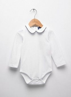 Little White/Navy Milo Piped Body
