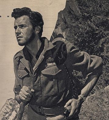 """Patrick Leigh Fermor as played by Dirk Bogarde in the film about his time on Crete during WWII, """"Ill Met By Moonlight"""" made by Michael Powell & Emeric Pressburger, 1958."""