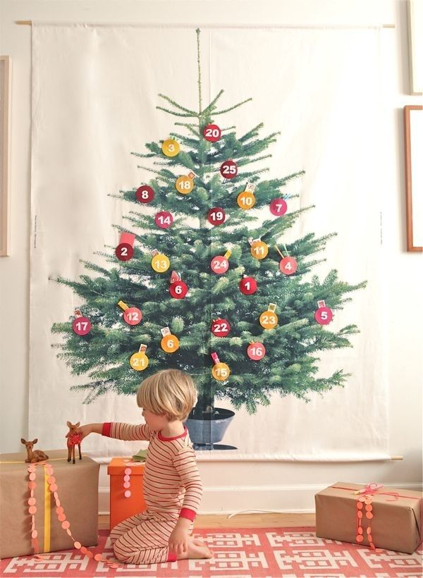 Put up a tree Advent calendar. | 38 Fabulous DIY Christmas Trees That Aren't Actual Trees