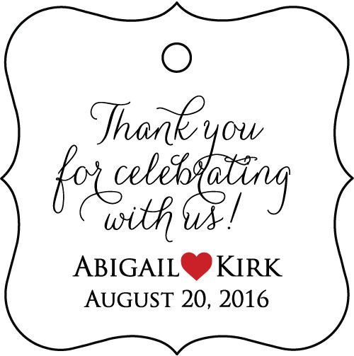 96 Thank you for celebrating with us! Personalized Wedding Favor Tag #Unbranded