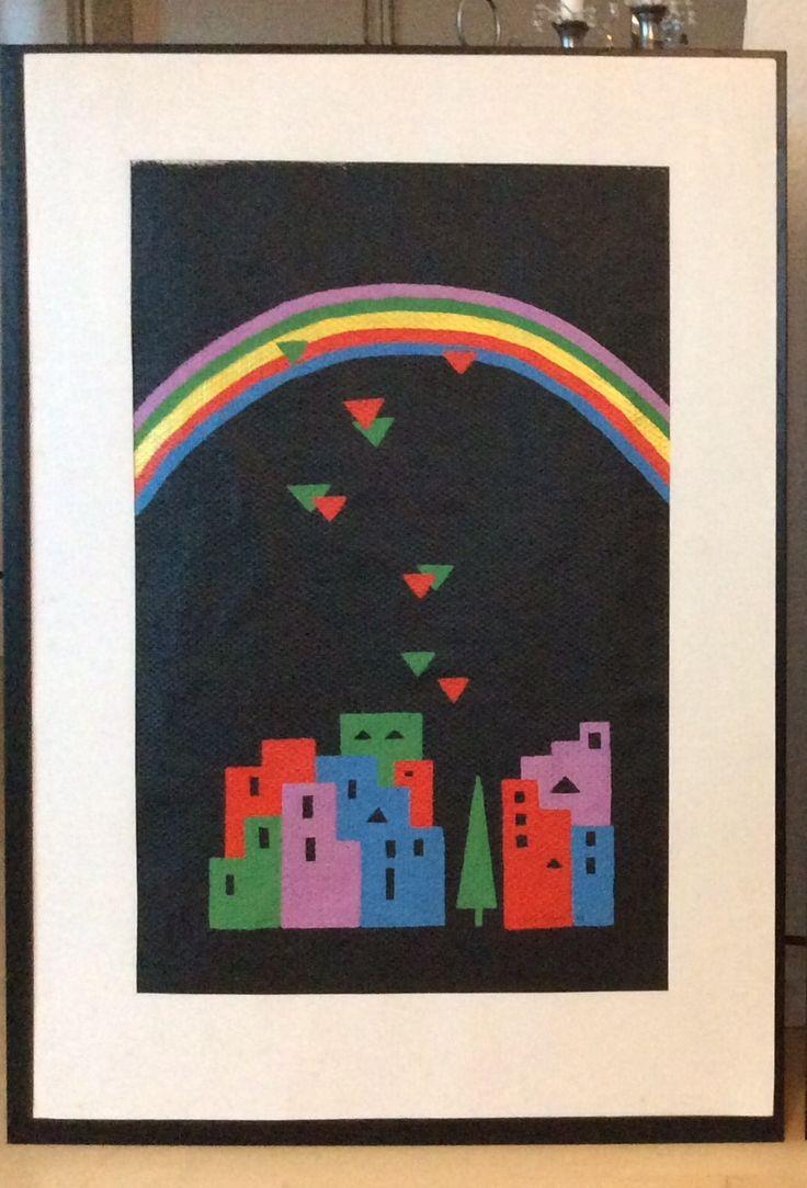 """Fra serien """"Et øjebliks klarsyn"""" V, fra 1988/89 Akryl på glasvæv. Med passepartout 70 x 100 cm"""