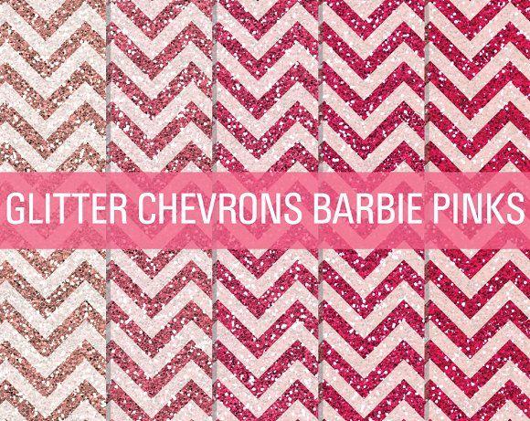 Glitter Chevron Textures Barbie Pink by SonyaDeHart on @creativemarket