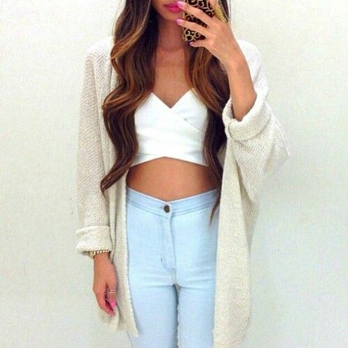 Cute crop top and high waist jeans | Fashion | Pinterest ...