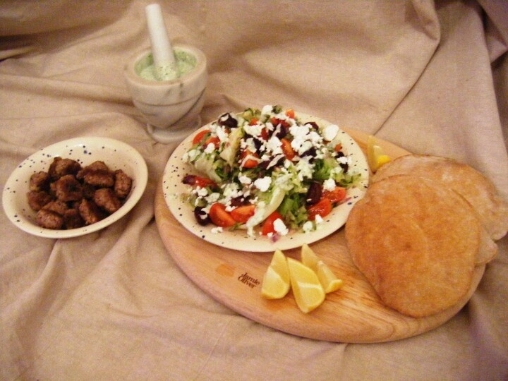 Greek-style dinner for two with home-made whole wheat pita breads