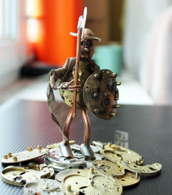 Steampunk warrior, Mr. Henry a man made with brass, copper and watch parts unique gadget handmade accessory OOAK gift for men sculpture wire...