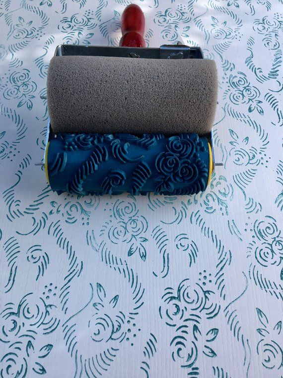 Pattern Decor Paint Roller Wall Decor 15cm Roses Pattern Paint Roller Patterned Paint Rollers Textured Walls Wall Painting Decor