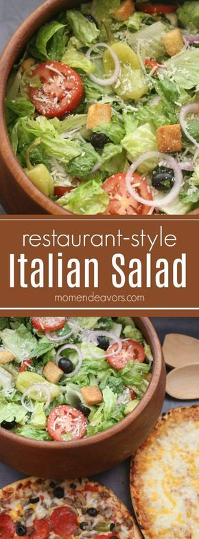 Easy Restaurant-Style Italian Salad Recipe - pairs perfectly with pizza for a quick meal! #BaronessPatches AD