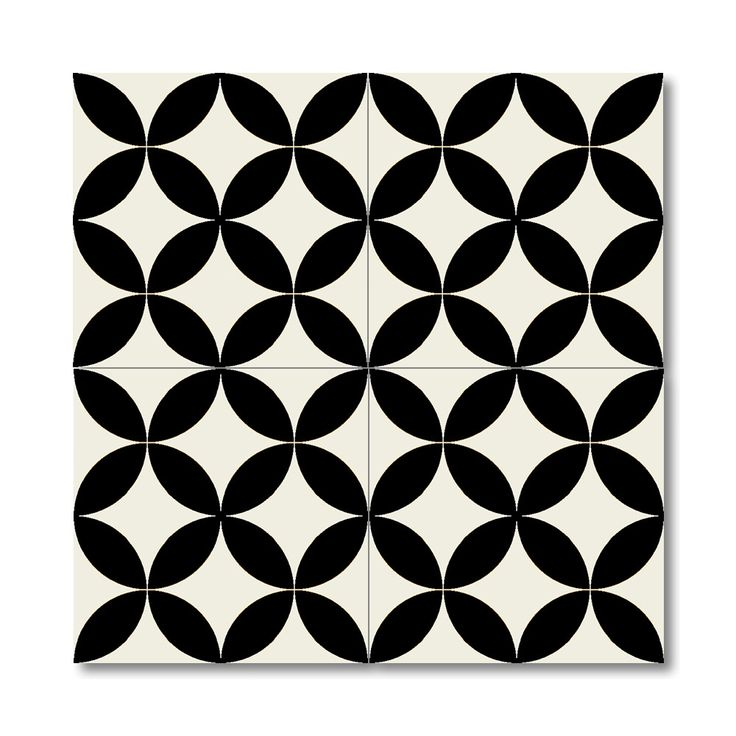 """Moroccan Mosaic Bellota 8"""" x 8"""" Hand-Painted Tile in White and Black"""
