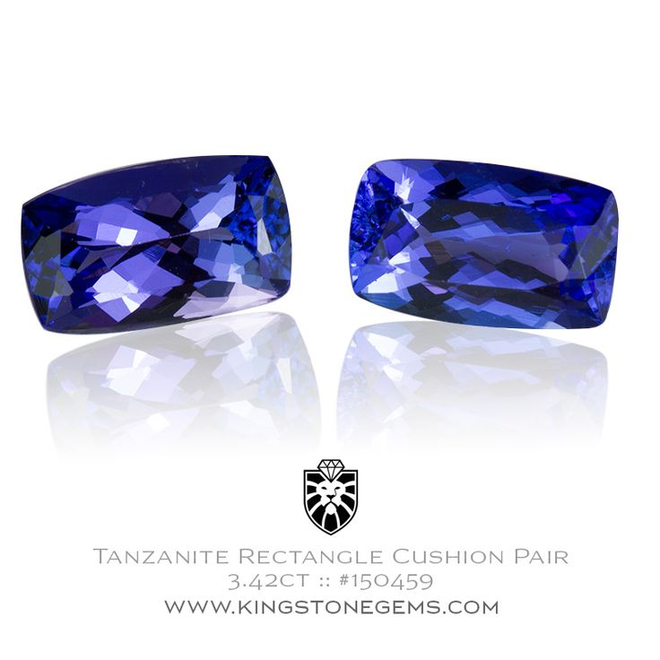 Tanzanian Blue Tanzanite Cushions - 3.42ct - 9.2x5.6mm - SKU# 150459 - A beautiful matched pair of tanzanites from our wonderful collection of precious gems.