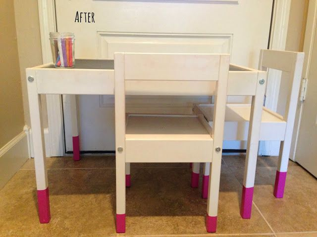 Ikea Hack: Kid's Chalkboard Table Top With Pink-Dipped Legs // Home Style Love