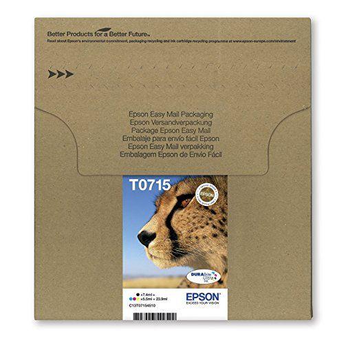 Epson - T0715 - Cartouche d'encre d'origine DURABrite Ultra - Multipack Noir, Cyan, Magenta, Jaune [Emballage « Déballer sans s'énerver par Amazon »]