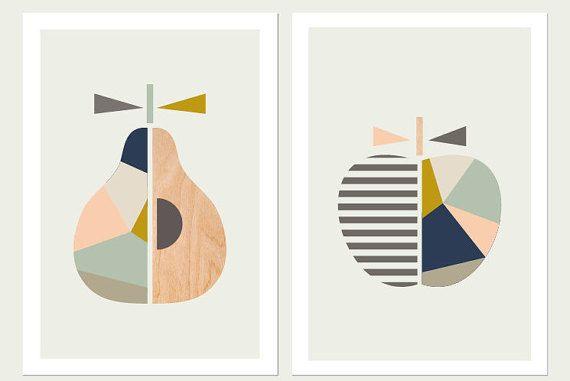 Apple Pear Prints,(Pink and blue),Series of Two.Scandinavian Art, Apple print,Pear Print, Modern Nursery Art,Scandi art,Kids art, Apple art.