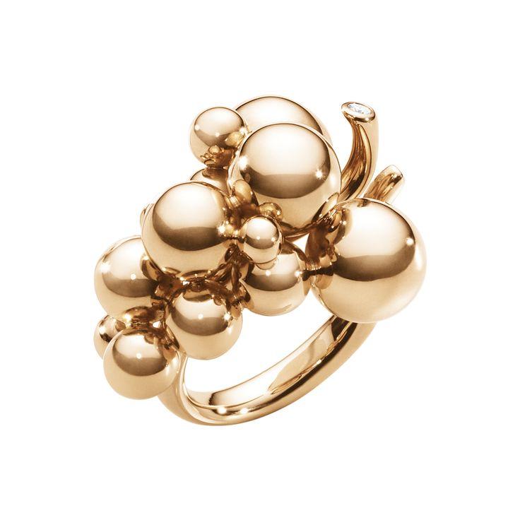 Georg Jensen MOONLIGHT GRAPES ring - 18 kt. rose gold with brilliant cut diamond, $2,950.00
