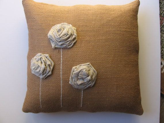 Brown Burlap Pillow with Ecru Fabric Rolled by fisheyeprims, $34.00