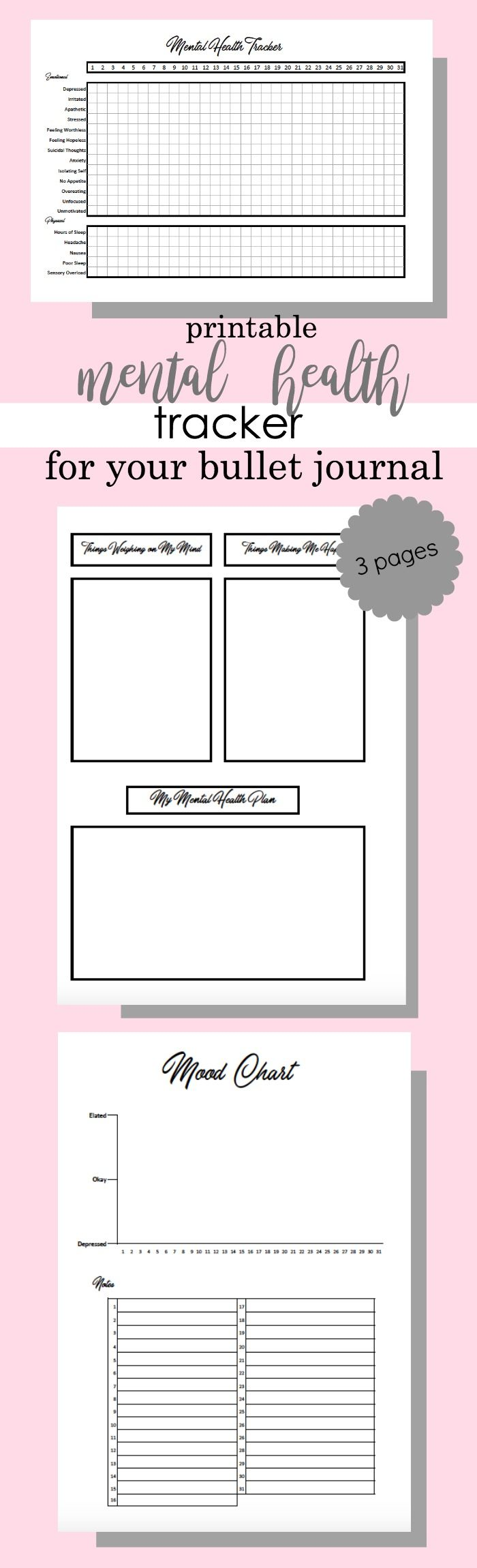 3 Page Mental Health Tracker for your Bullet Journal