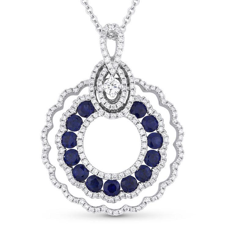 1.87ct Round Cut Sapphire & Diamond Pave Statement Pendant & Chain Necklace in 14k White Gold - AlfredAndVincent.com