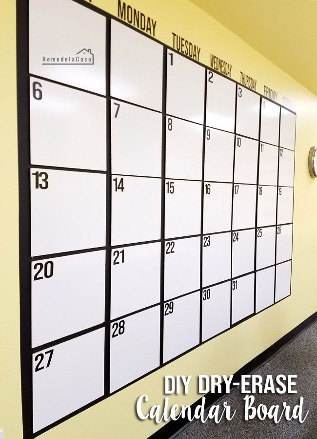 Calendrier Side Car Cross 2019.Diy Huge Dry Erase Calendar Board In 2019 Dry Erase